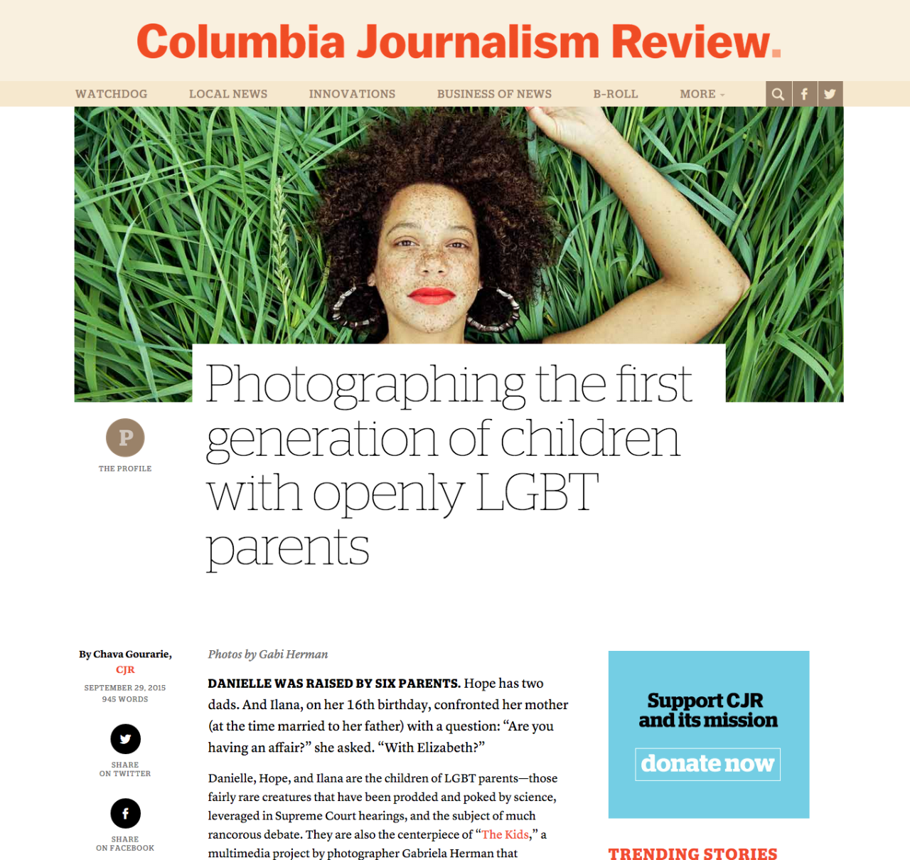 The Kids project discussed in the  Columbia Journalism Review