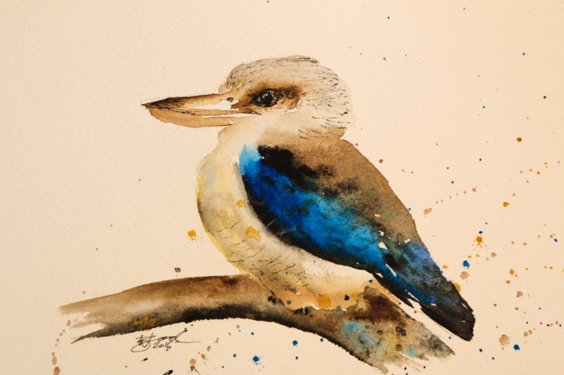 "DAY ONE: Kookaburra (5.8x8.3"") Watercolour and Unipin Pen"