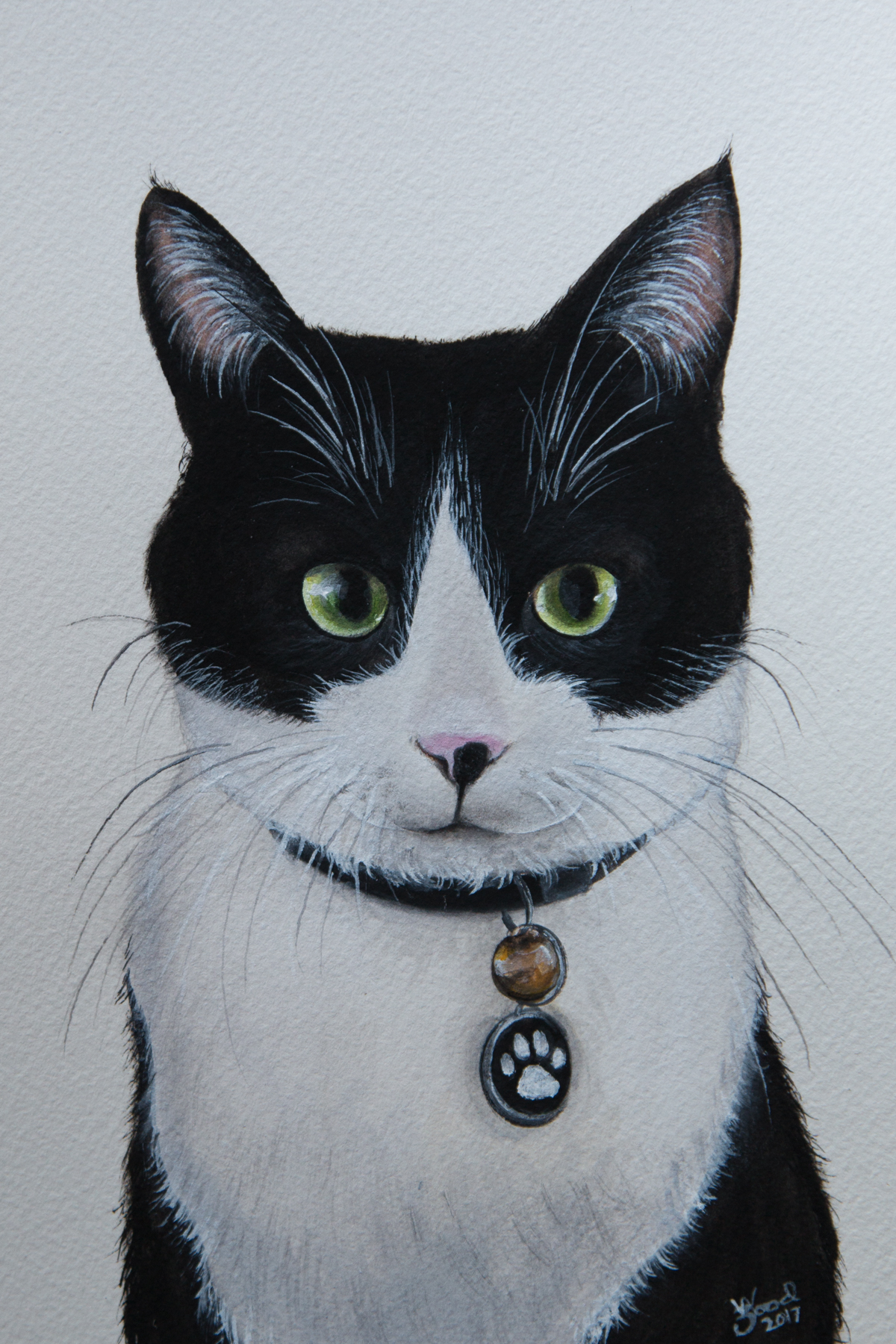 """""""We couldn't have been more thrilled with the portrait of our dear Smudge. What we love most is the way Zoe captured her eyes so realistically (they're a bit googly) and her Batman mask on her face. I would recommend Zoe's incredible artistic talents without hesitation to anyone wanting to immortalise their special furry friend."""" - Matthew and Toby, Williamstown"""