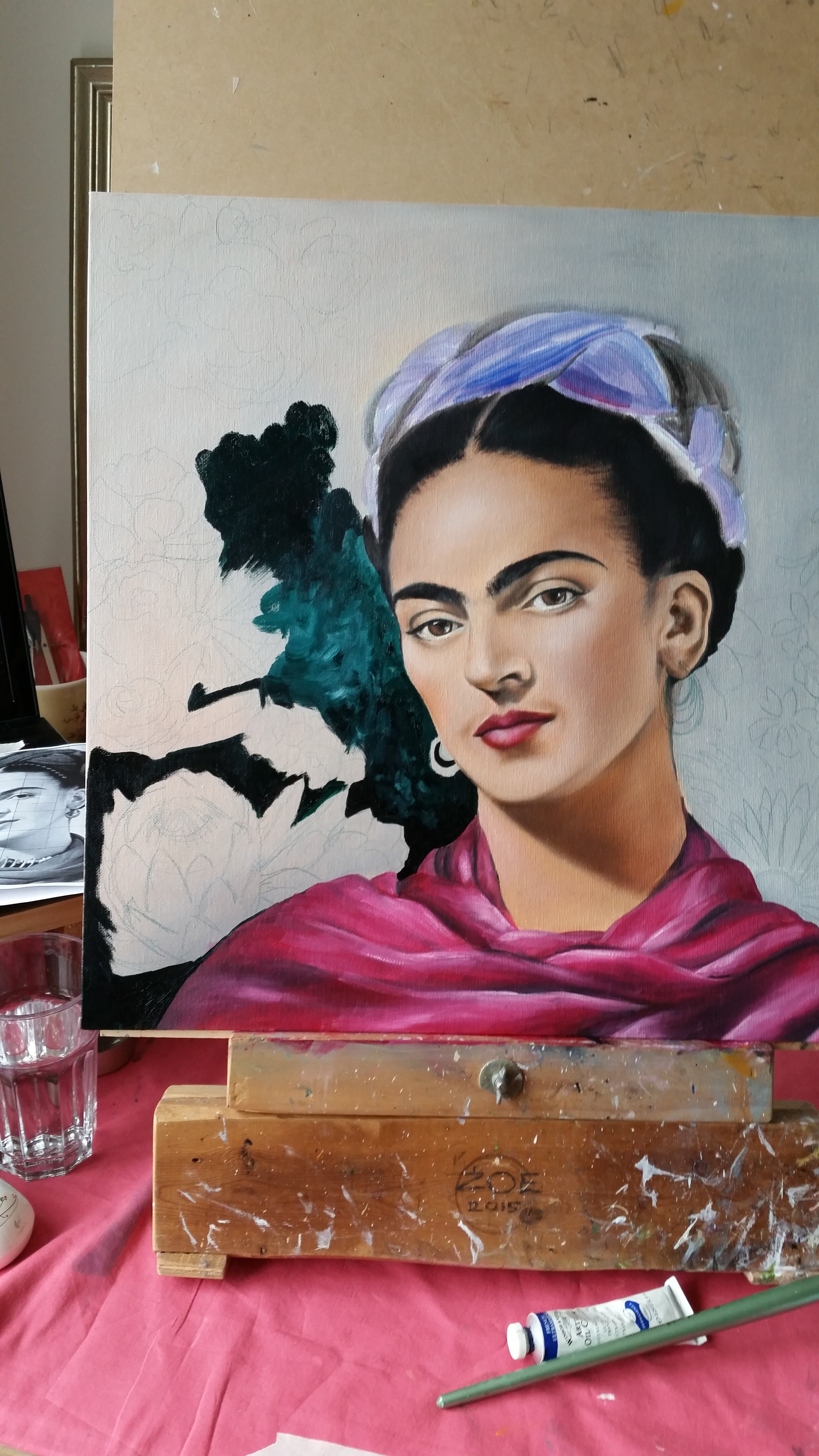 Adding flowers - oil Frida painting - Zoe Wood 2017