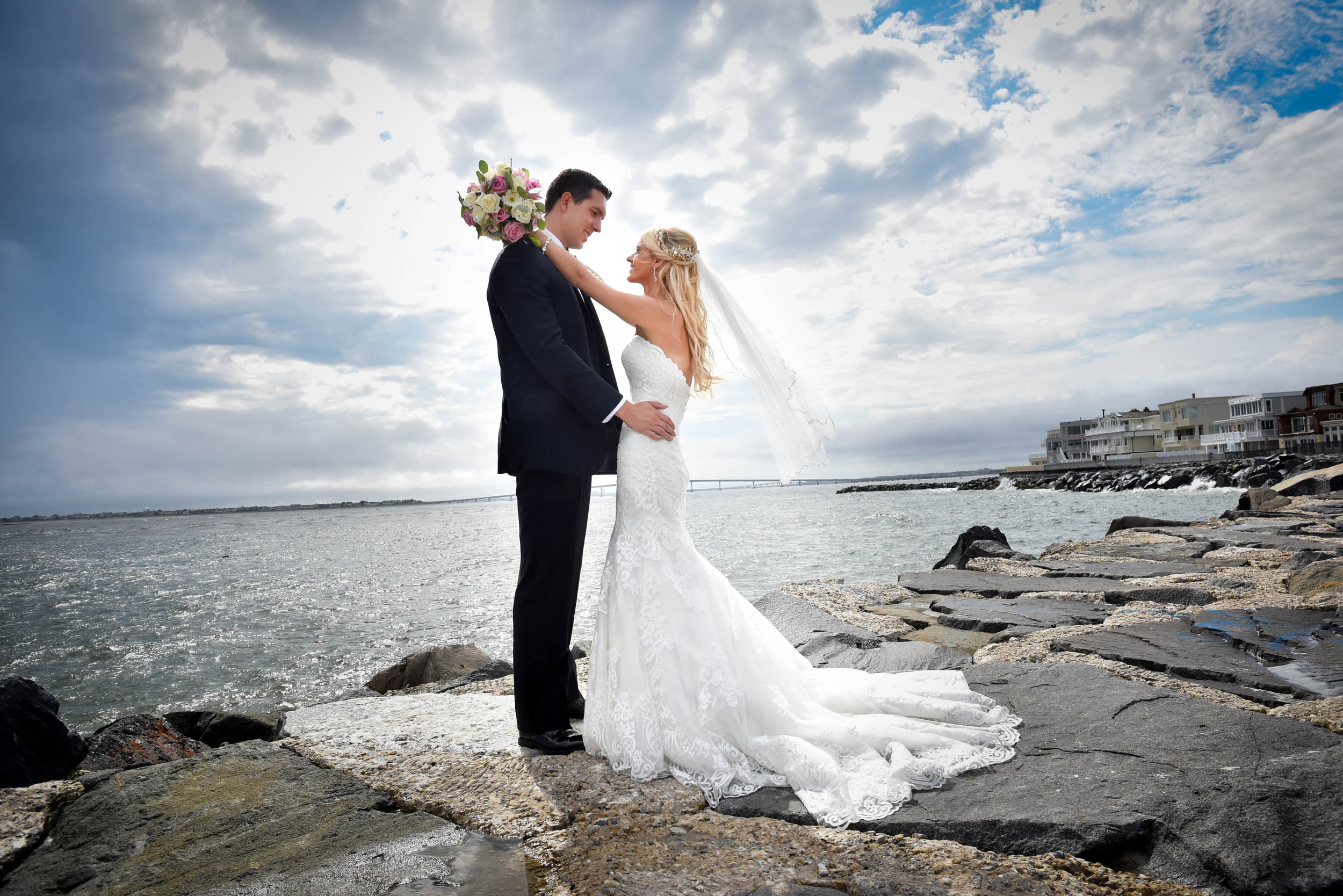 New Jersey beach bride and groom