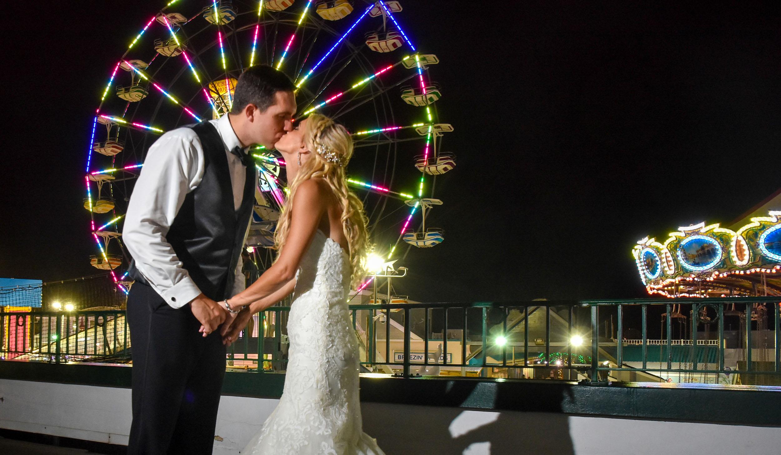 Flanders Hotel rooftop bride and groom