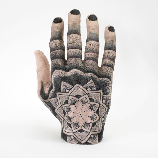 This beautiful Thing tattooed by @ishineve is available to purchase, bid now! #thinggallery #tattoo #tattooedhand #handtattoo #gallery #galleryauction #buyart #curiousart #siliconeart #siliconehand #mandala #mandalahand #tattooart #tattooartist