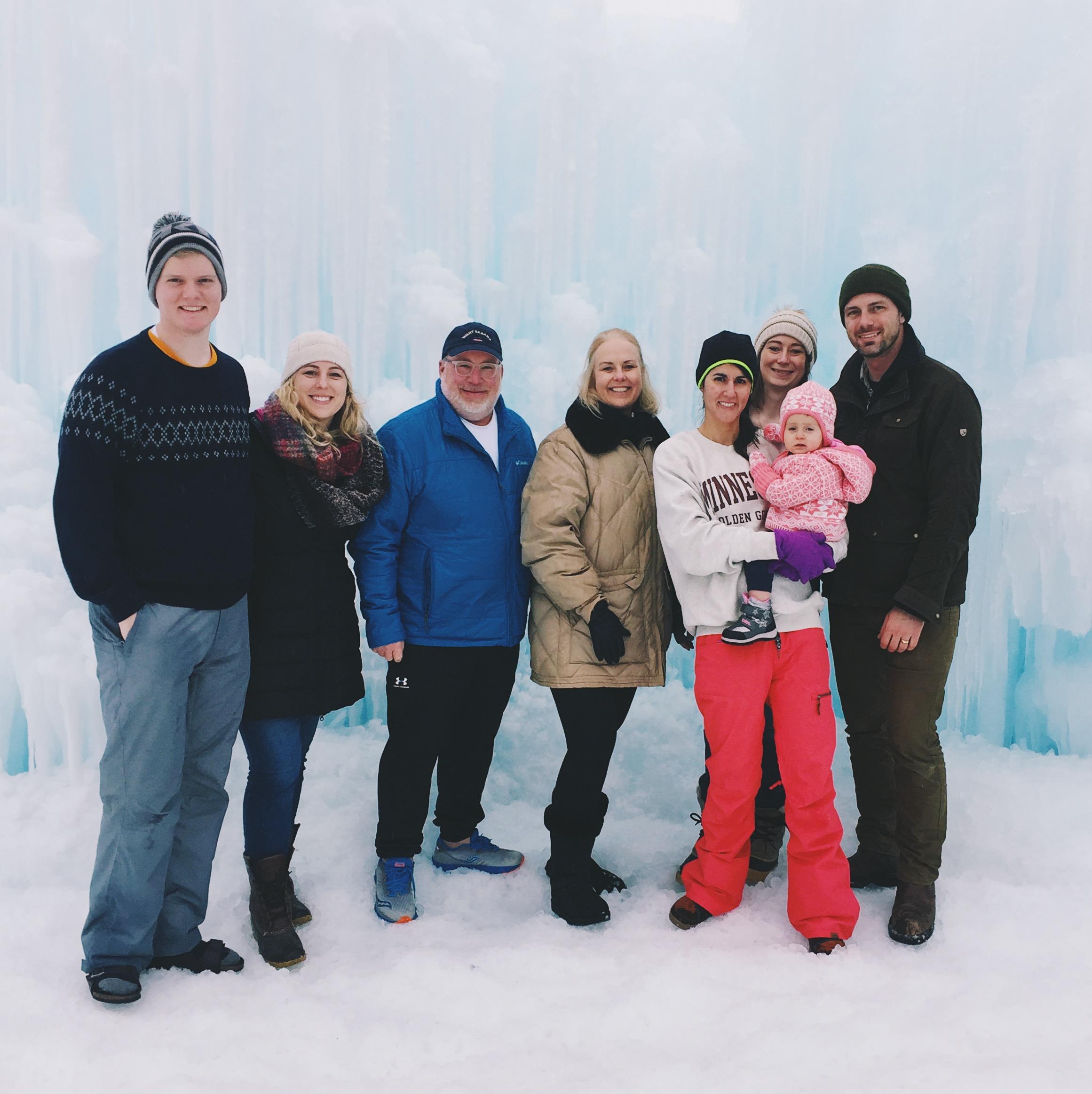 The group of us! — Matt, me, Dad, Marian, Mandy, Clair, Luke