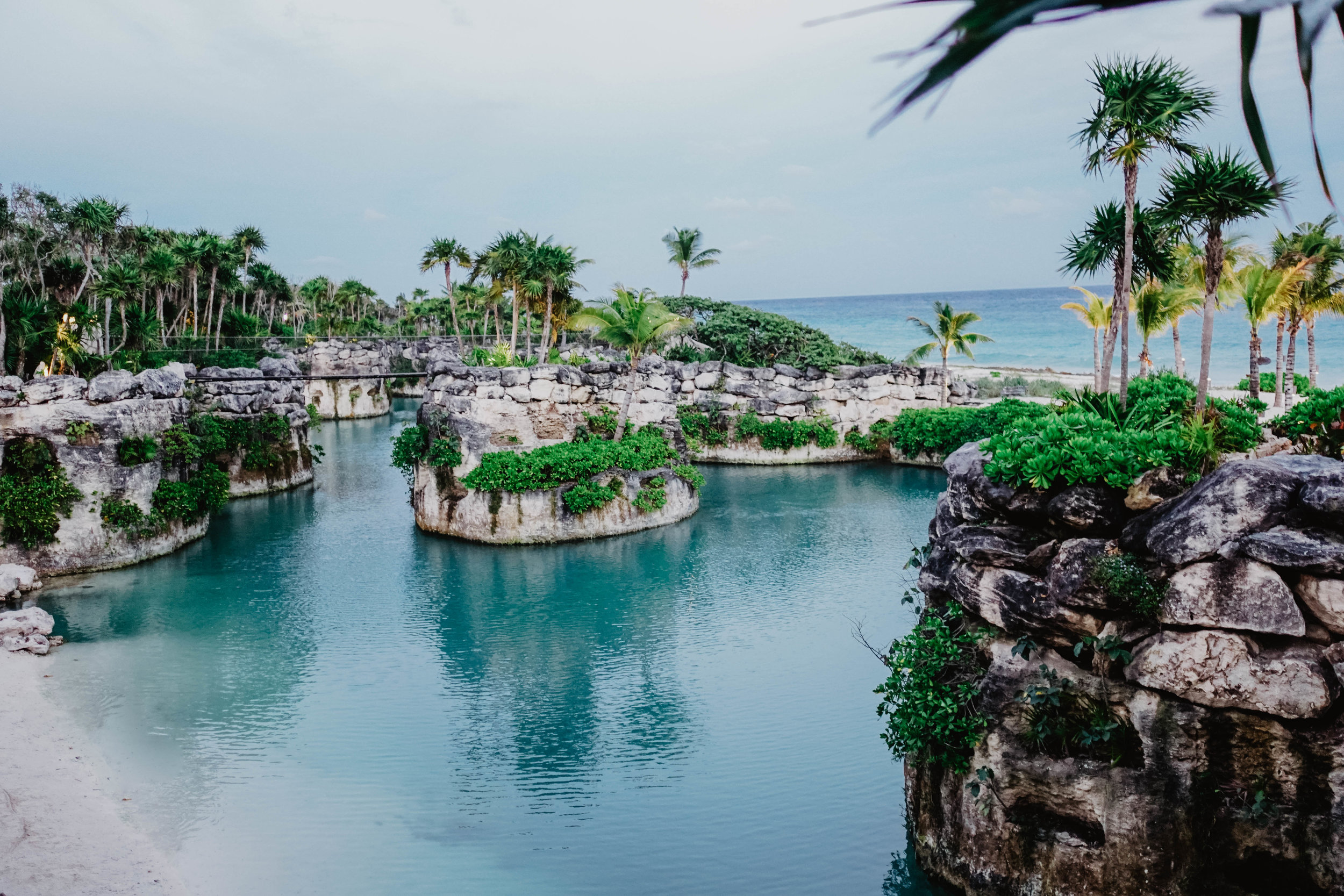 The beach front at Hotel Xcaret Mexico.
