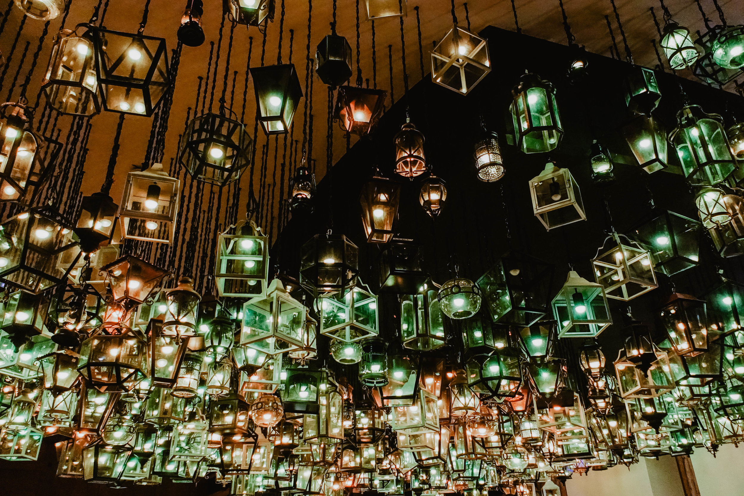 The lighting fixtures at La Cantina Restaurant in Hotel Xcaret Mexico