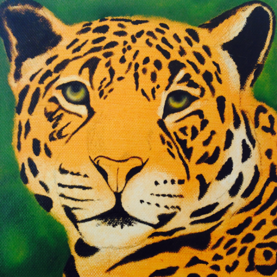 Here you can see the tonal under paint, the tropical green background has been blocked in, the Jaguar's spots have been painted and I have started to paint the eyes, this to give the subject expression