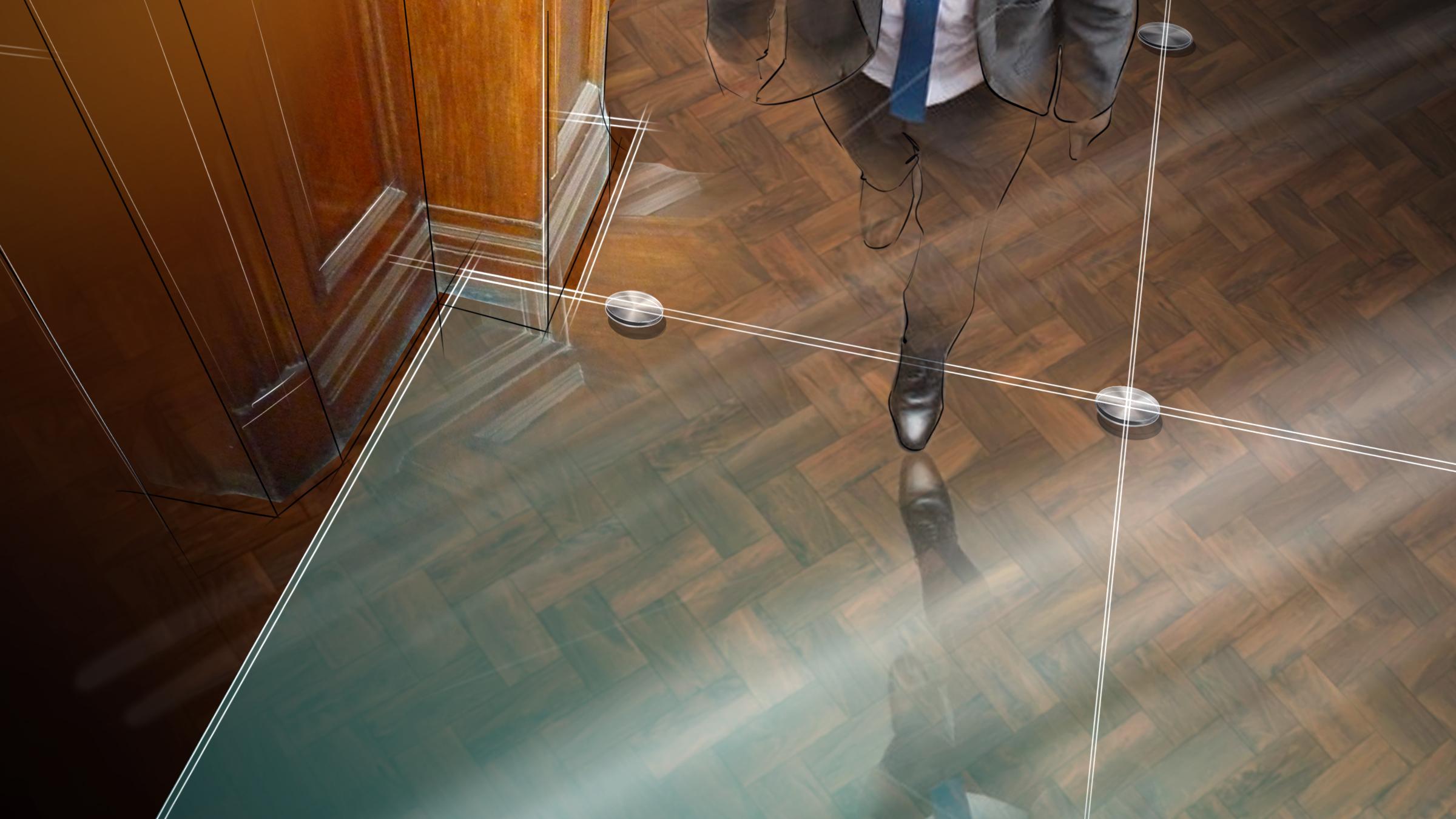 Floor treatment, raised glass panelling.