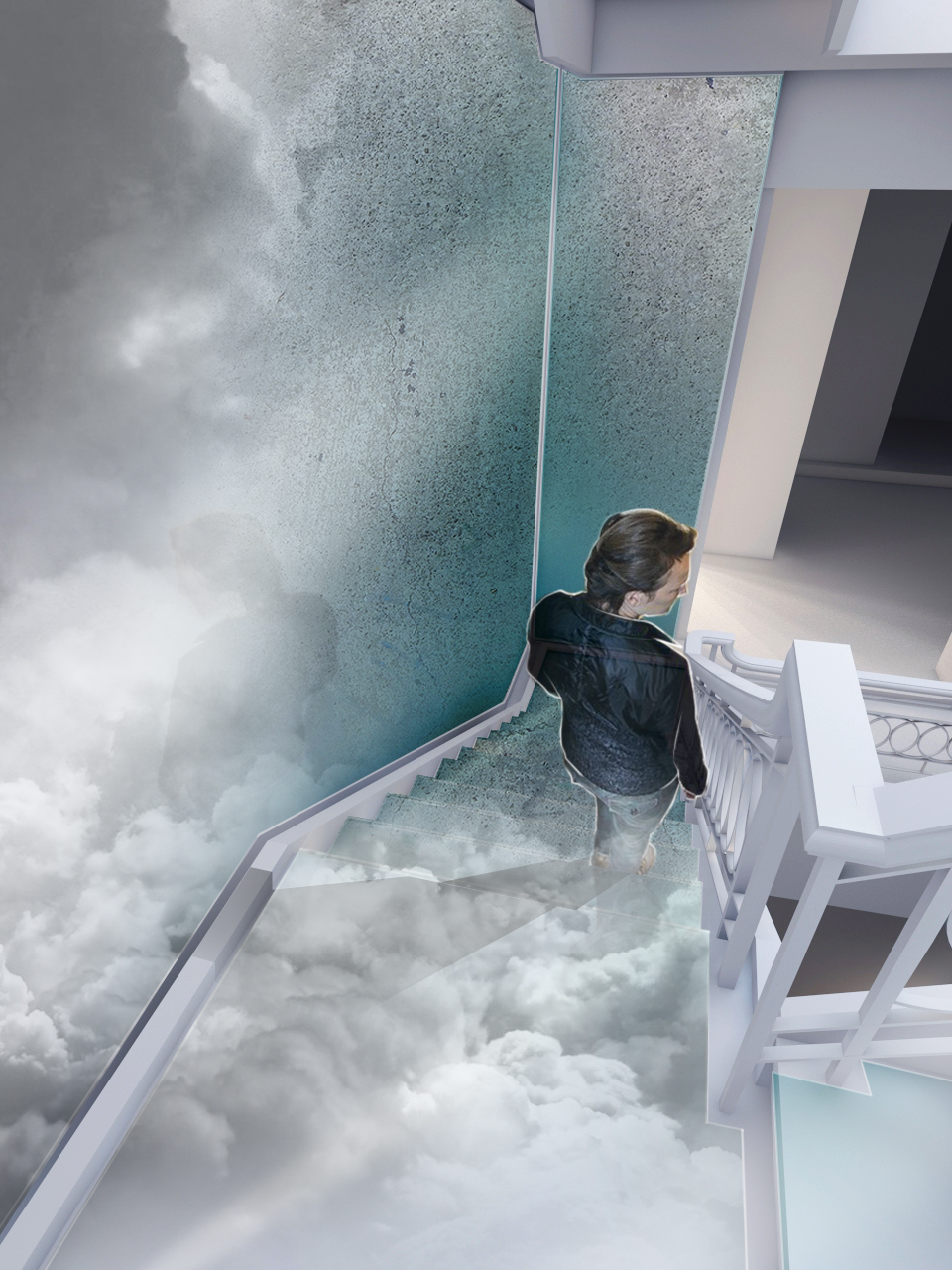 Staircase treatment with digital projections.