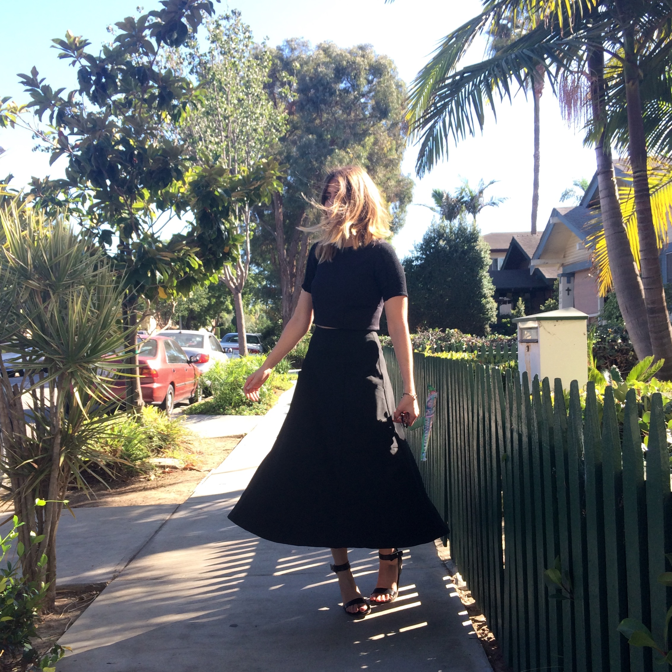 Shirt from TwentyTwoFortyFour; Skirt from Elizabeth Suzann; Shoes from Everlan