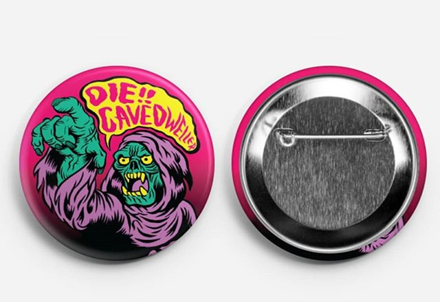 To the first 50 people who show to my art show #Cavedwellers in Sept you will get one of these biggole 2.50 inch buttons!  #buttons #ghostbatart #undead #illustration #digitalart #freebies