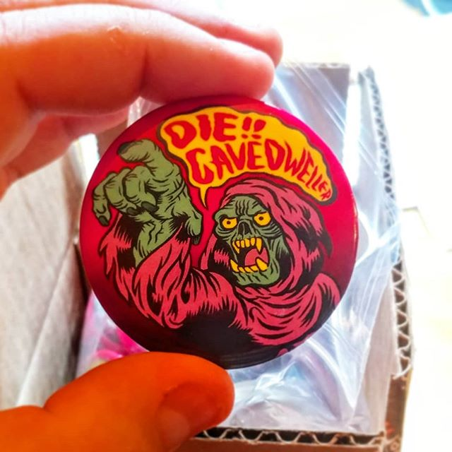 Cool. The #Cavedwellers #giveaway #buttons showed up. Thanks @stickermule for the great product, fast turn around and great price. The first 40ish people who show up to my art show can snag one of these big ass 2.5 inch baddies.  #ghostbatart #design #hermit #undead #freebie #illustration #merchdesign