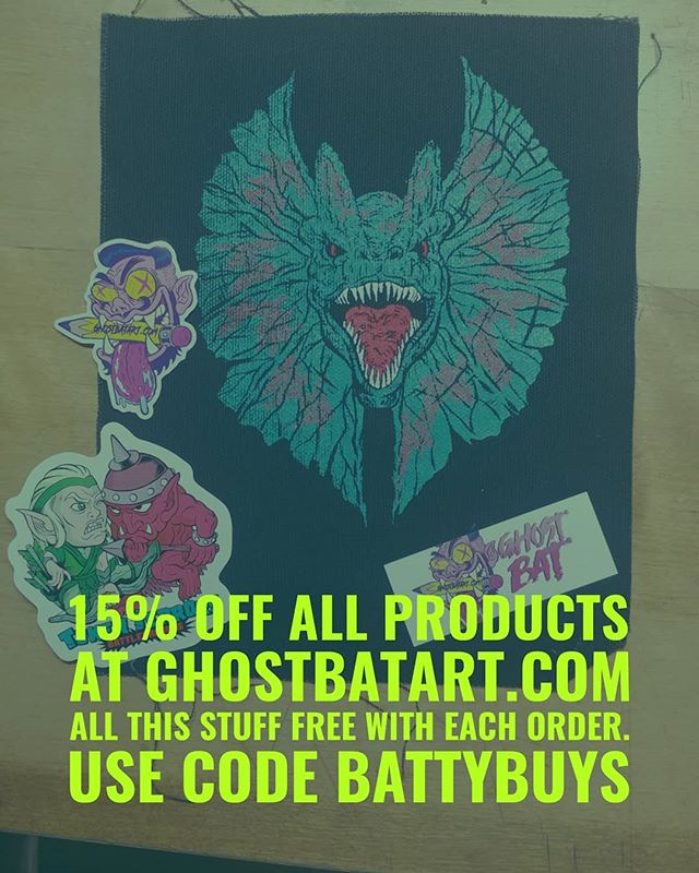 Until Friday I'm doing 15% off on everything in my online store with code BATTYBUYS  Www.ghostbatart.com  Have #pins #buttons #posters #prints #comics #stickers  Trying to get some money to help woth upcoming move and paying for my daughters school, every purchase helps  Thanks!!!
