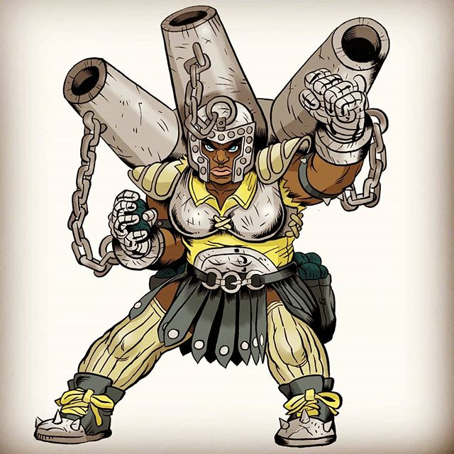 Last in a series of 6 for the introductory roster of #Battlegridchampions  Meet Daisy Reign a dwarven ranged champion who carries a heavy load of cannon fire everywhere she goes!  #illustration #ghostbatart #characterdesign #digitalart #gamedesign