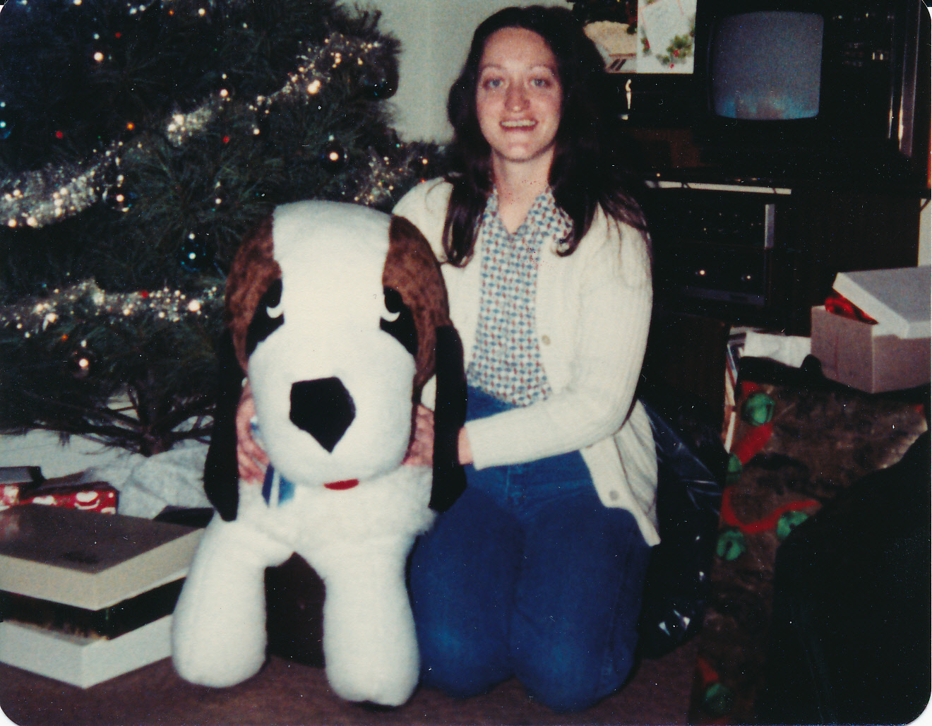Aunt Betty at Christmas, long ago.