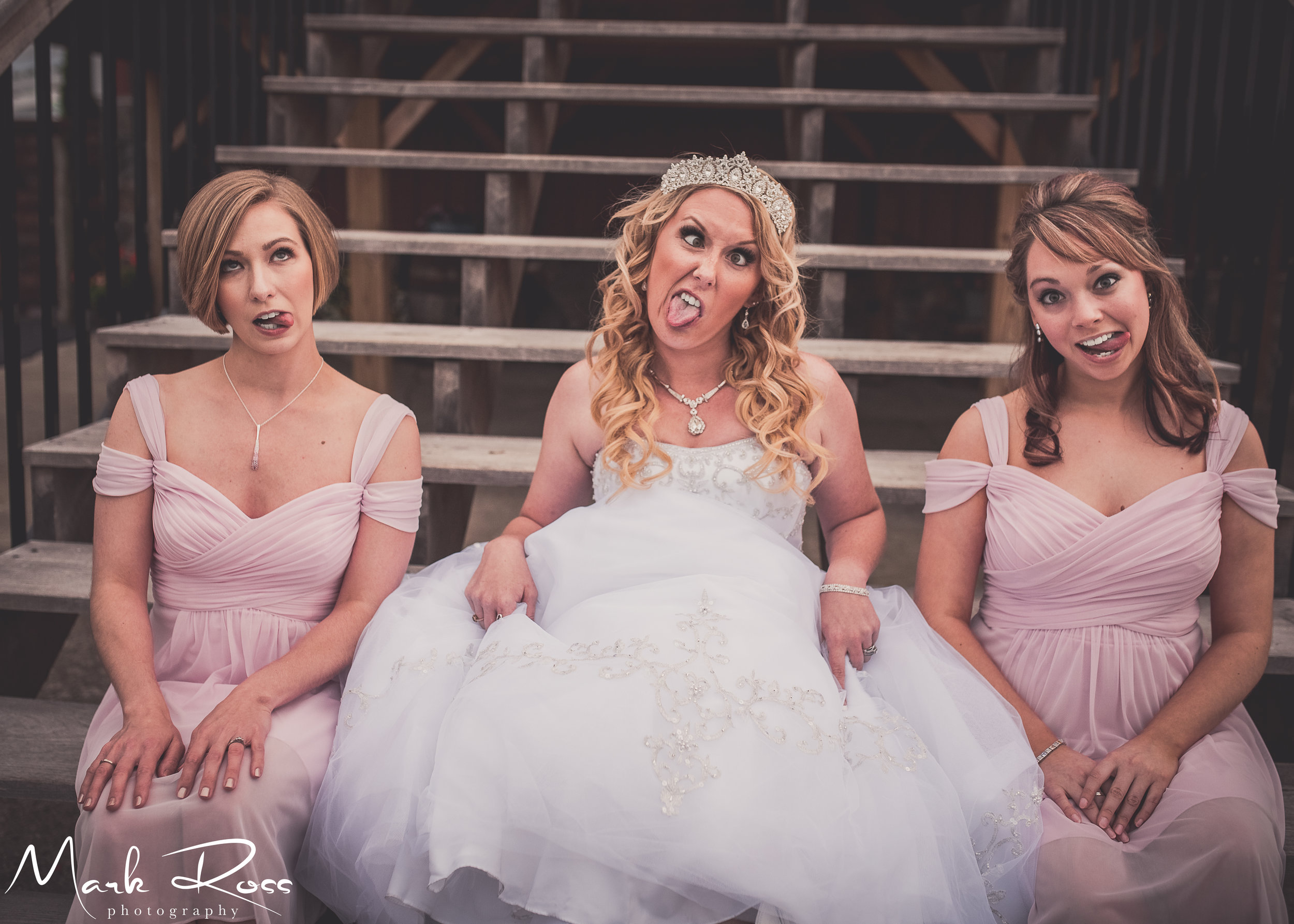 The bride and her fun bridesmaids.