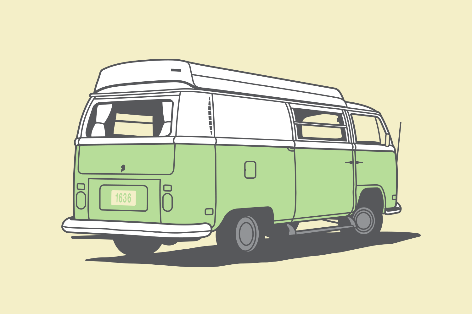 VW bus with camper top