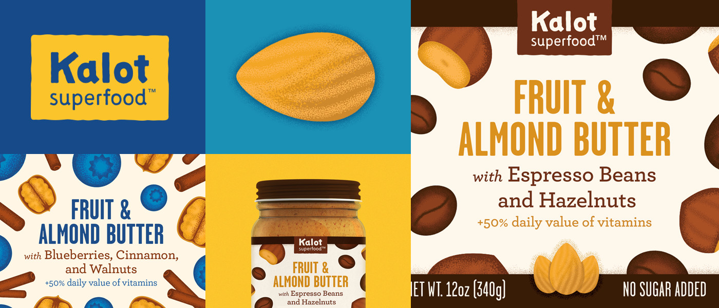 logo and ingredient illustrations for Kalot Superfood