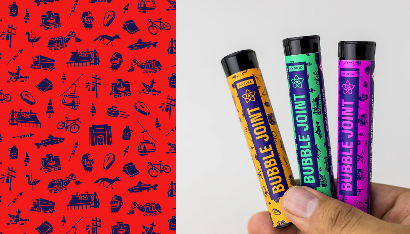 Pattern of icons inspired by the town of Nederland, Colorado (packaging by  Cast Iron Design )