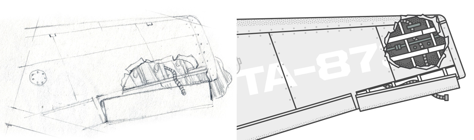 sketch and final version of plane wing wreckage
