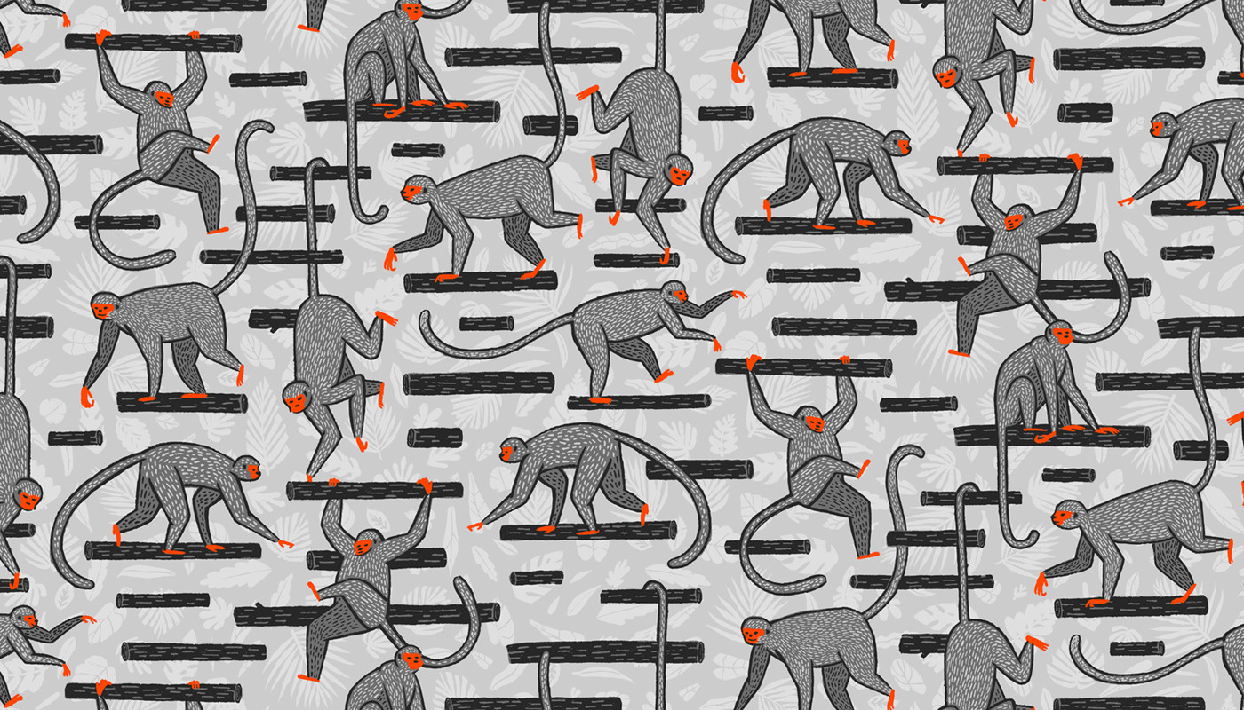 Monkeys in the Jungle — available on home goods from  society6  and fabric from  spoonflower
