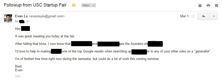 I sent the first email to establish a relationship.