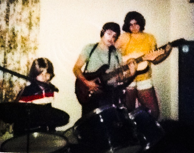 Rehearsal for that first gig in 1977 with my sister and our drummer, gregg nichols