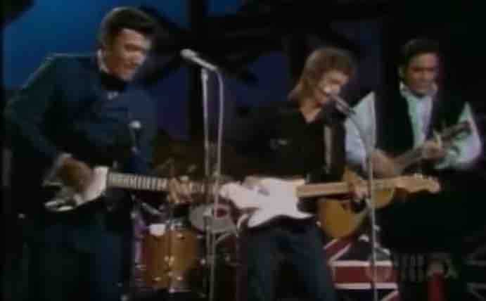 (L to R) Carl Perkins, Eric Clapton & Johnny Cash