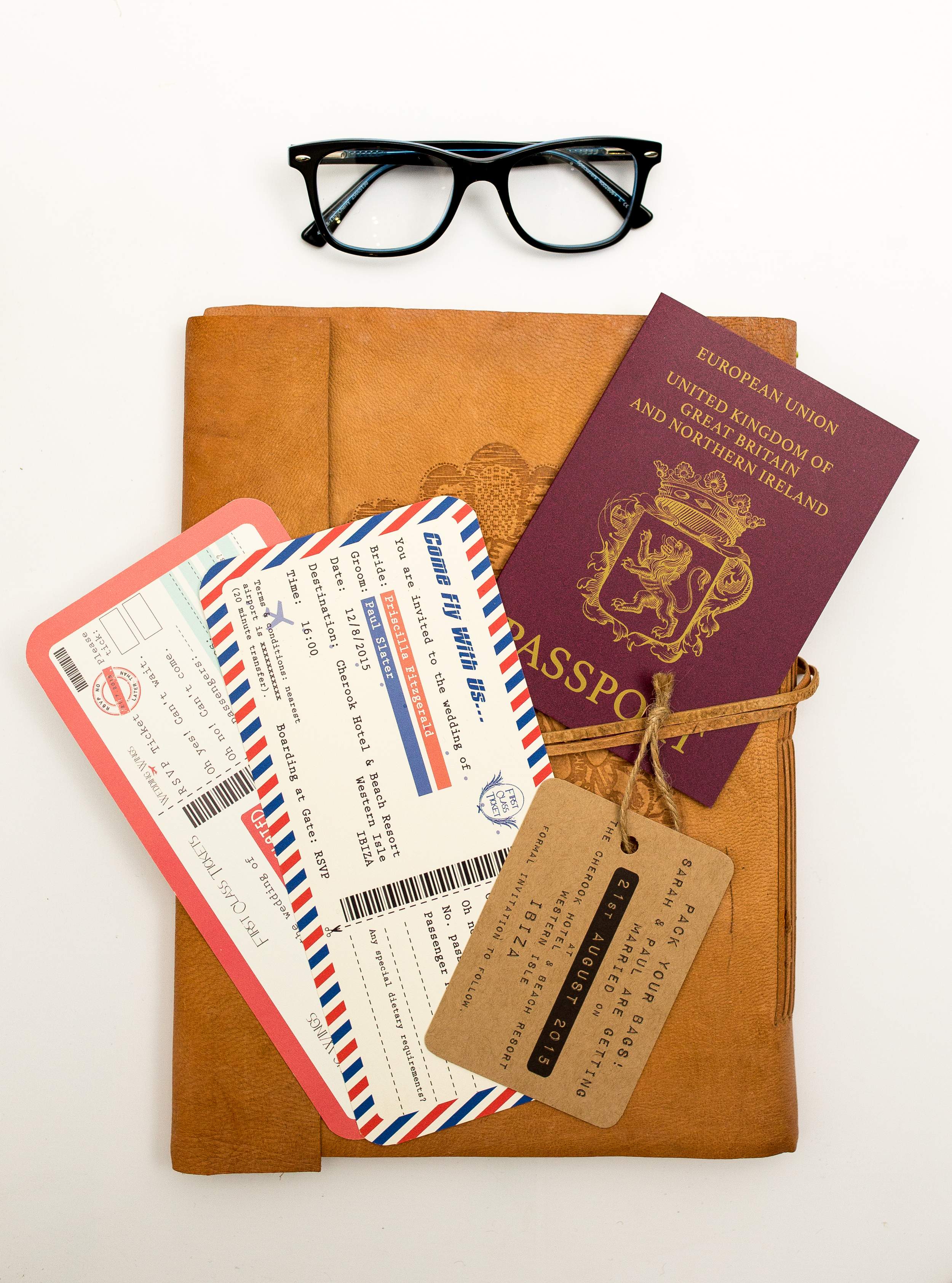 Destination Wedding Passport Invitation, Boarding Pass Invitations + Vintage Luggage Save the Date
