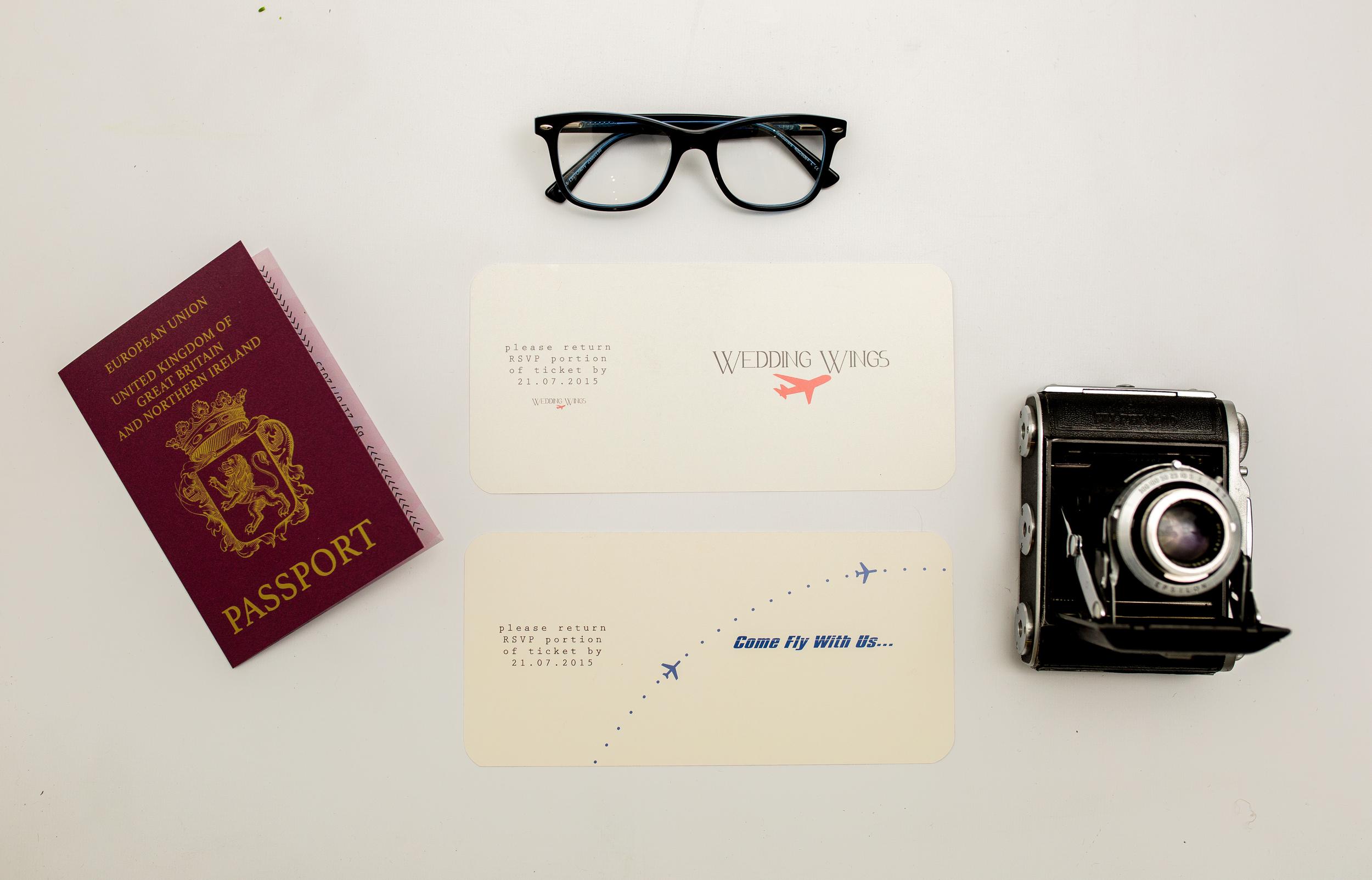Destination Wedding Boarding Pass Invitation RSVP Combined Reverse + Passport Invitation Front