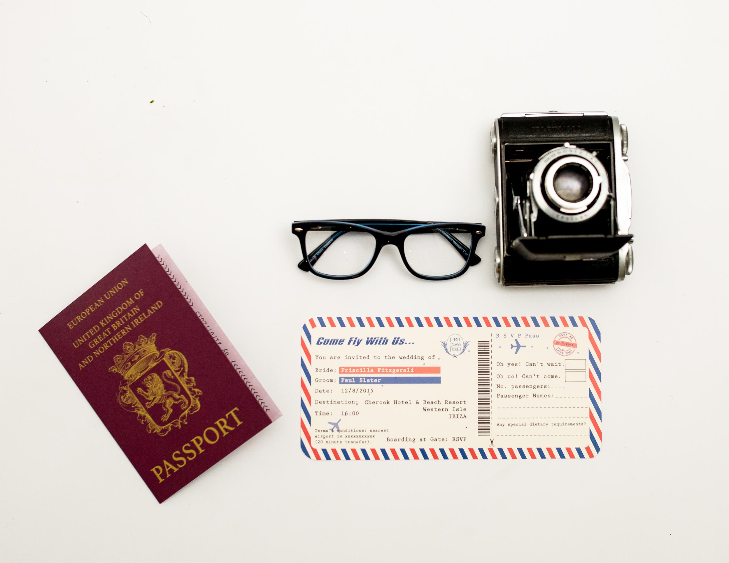 Destination Wedding Passport Invitation + Boarding Pass Invitation RSVP Combined Front