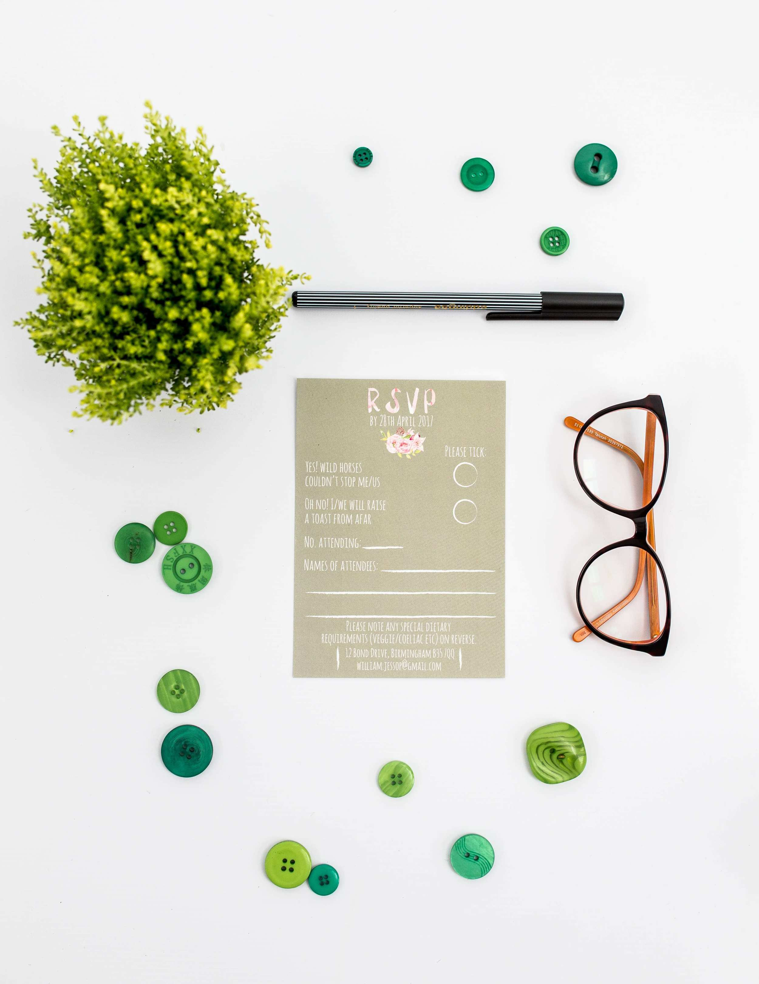 Ariel Modern Floral and Calligraphy RSVP Card