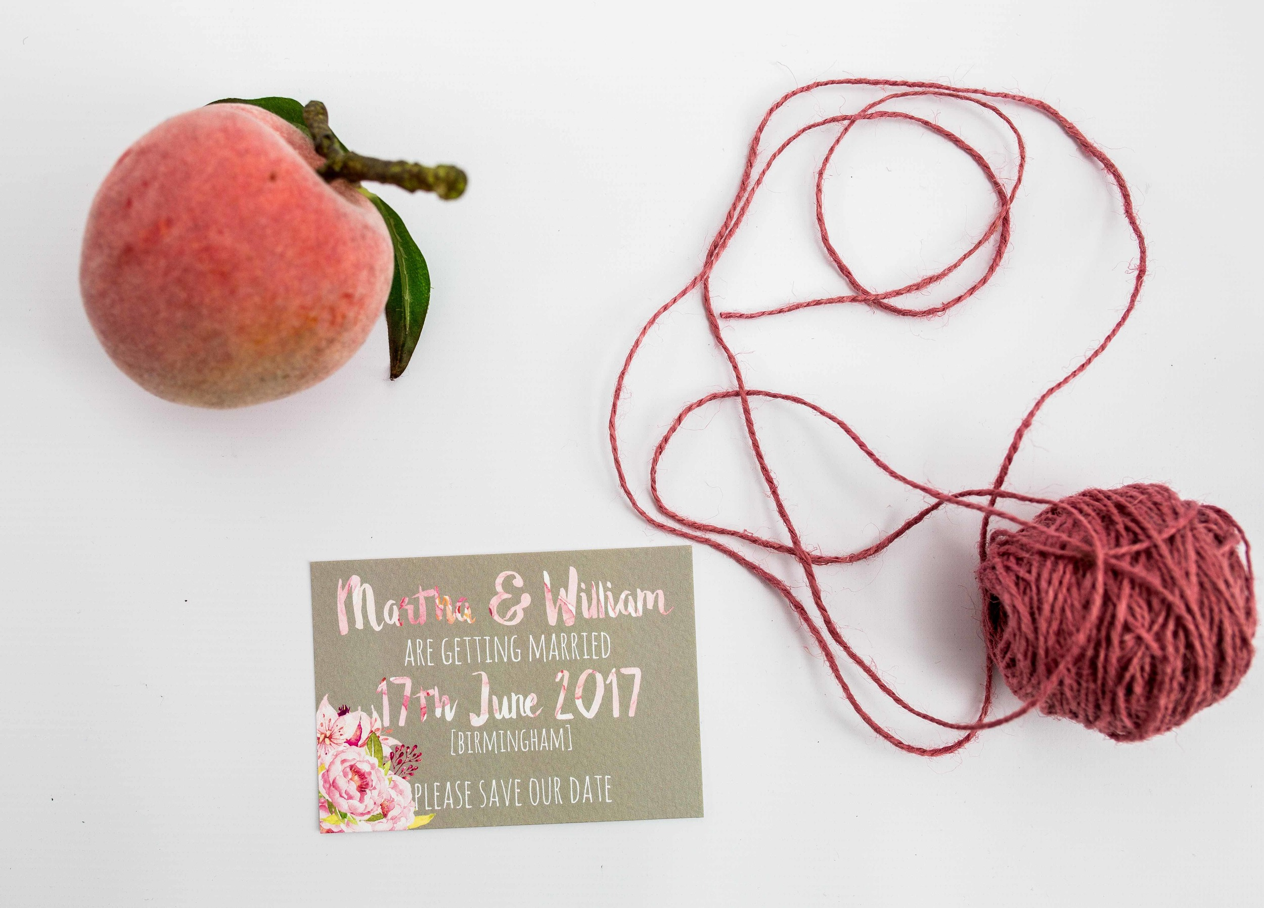 Ariel Modern Floral and Calligraphy Save the Date Card | Front