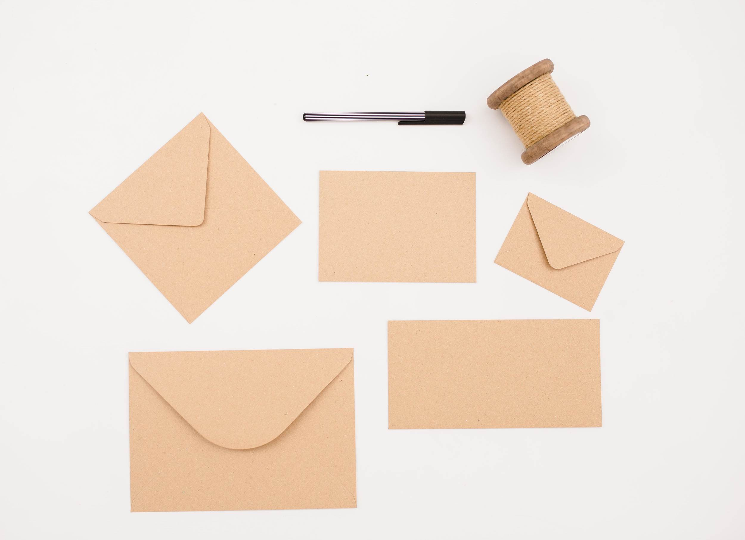 Envelopes that perfectly fit your product are supplied as standard with Invitations, Save the Date cards, RSVP cards & Thank You cards [excluding post card versions}