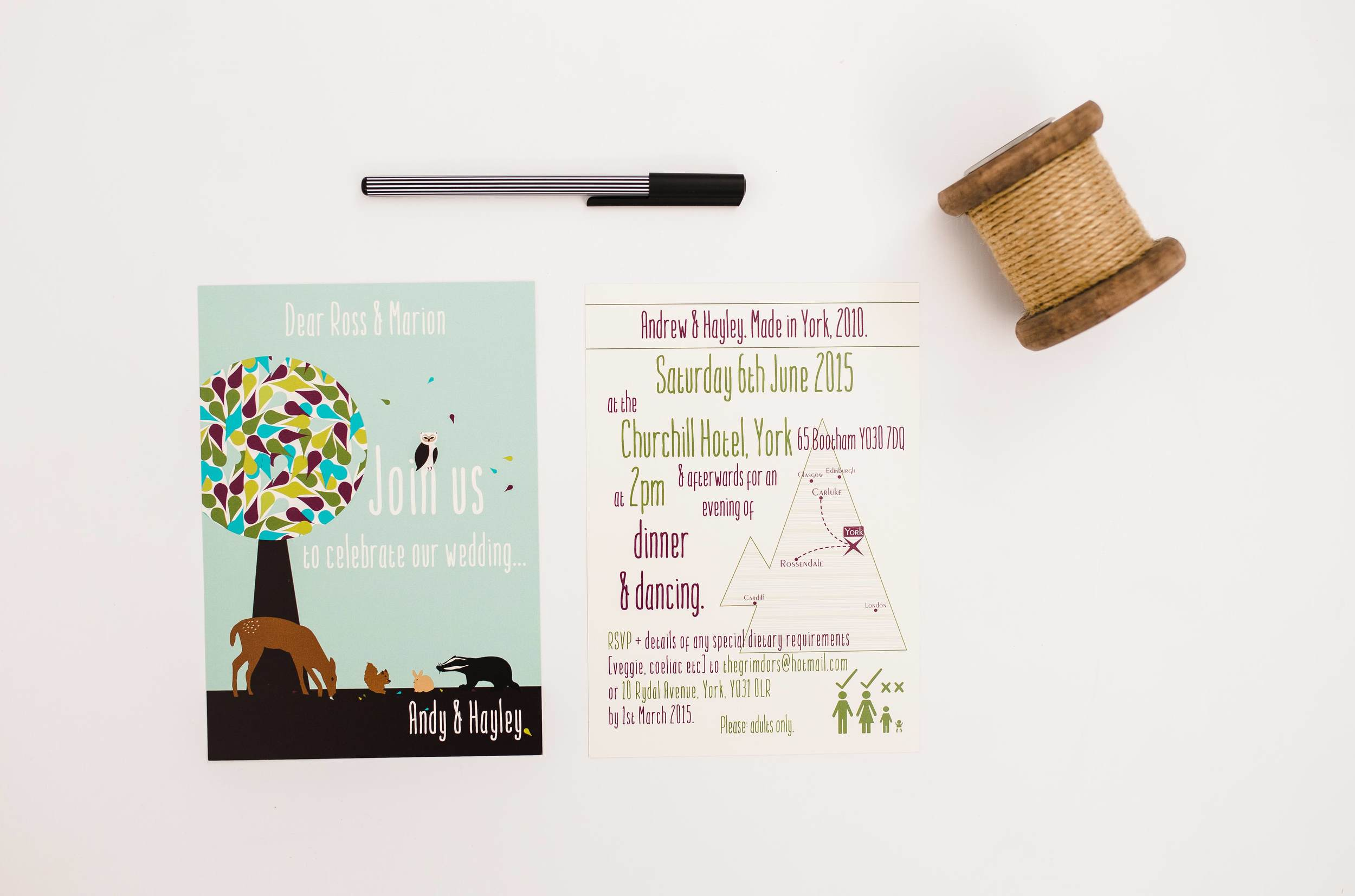 Bespoke Woodland Creatures Map Invitation Flat Front and Reverse.jpg