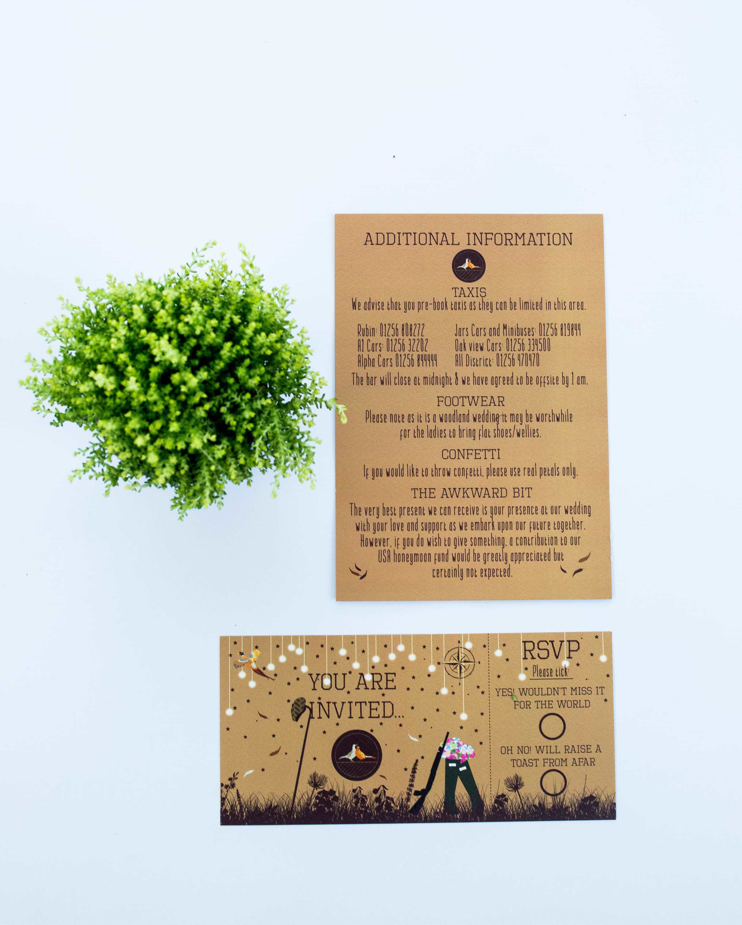 Bespoke Woodland Invitation, RSVP Card and Extra Information Card Front.jpg