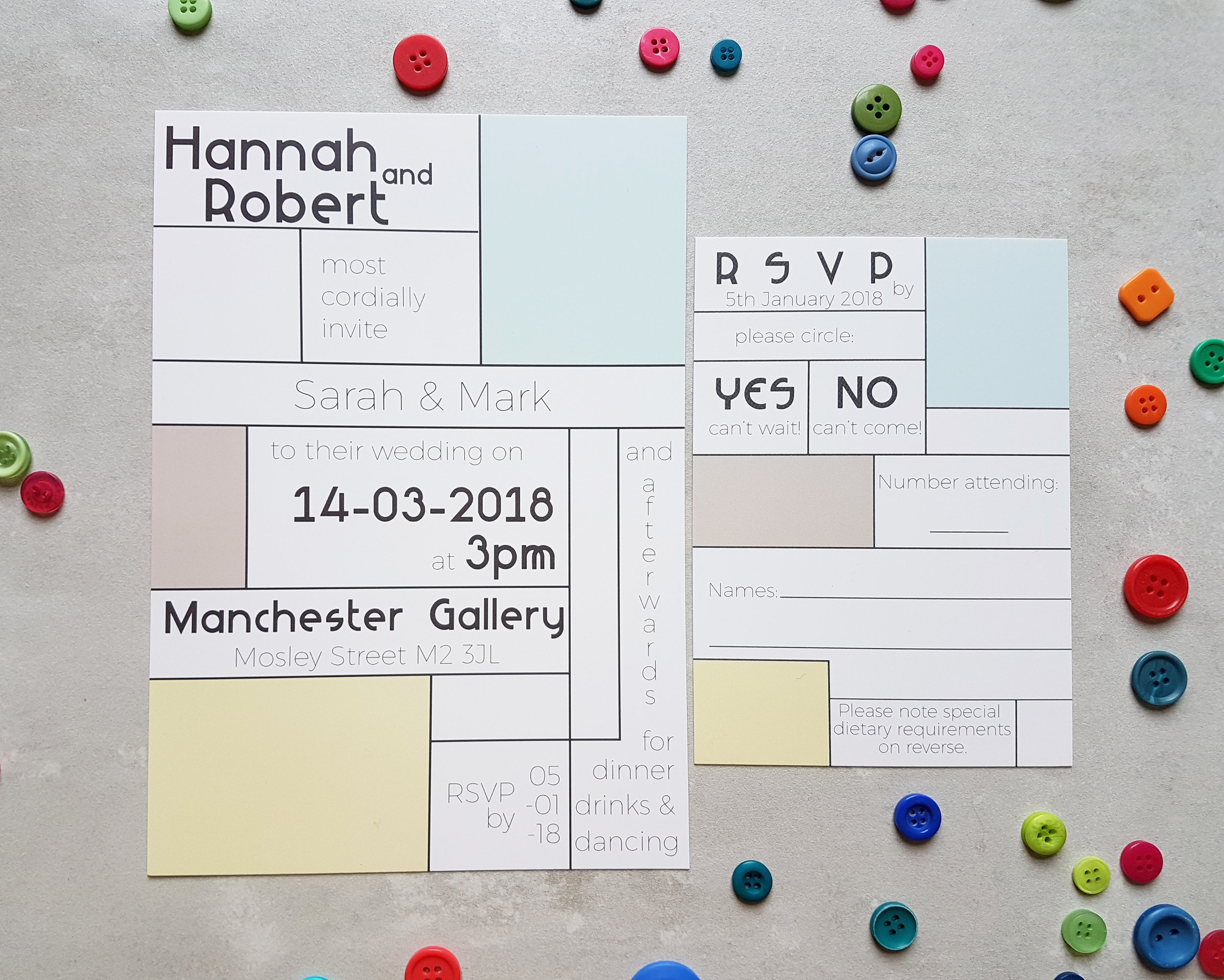 Sorbet Palette Mondrian Invitation | RSVP