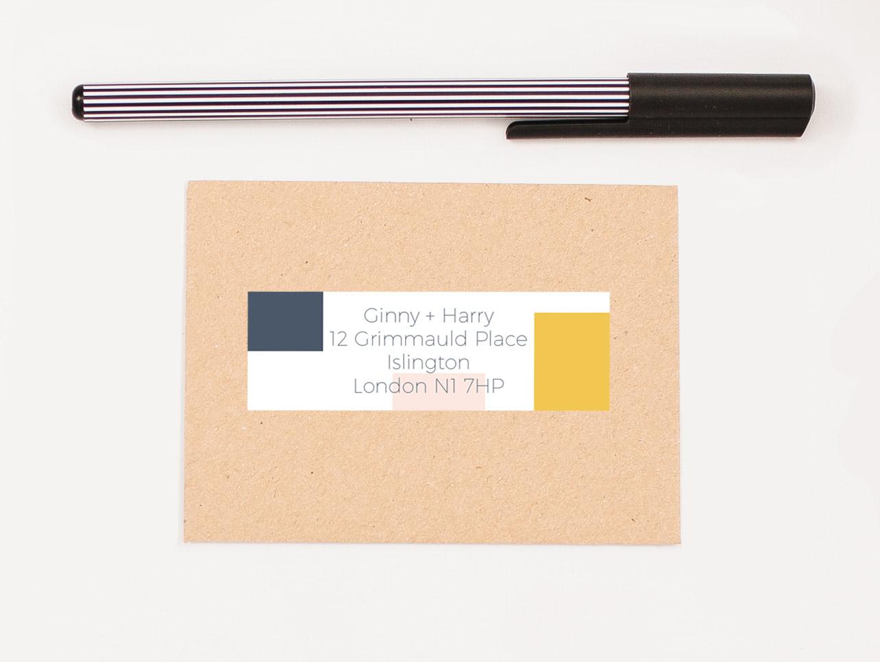 Retro Mondrian Self Adhesive RSVP Return Address Label