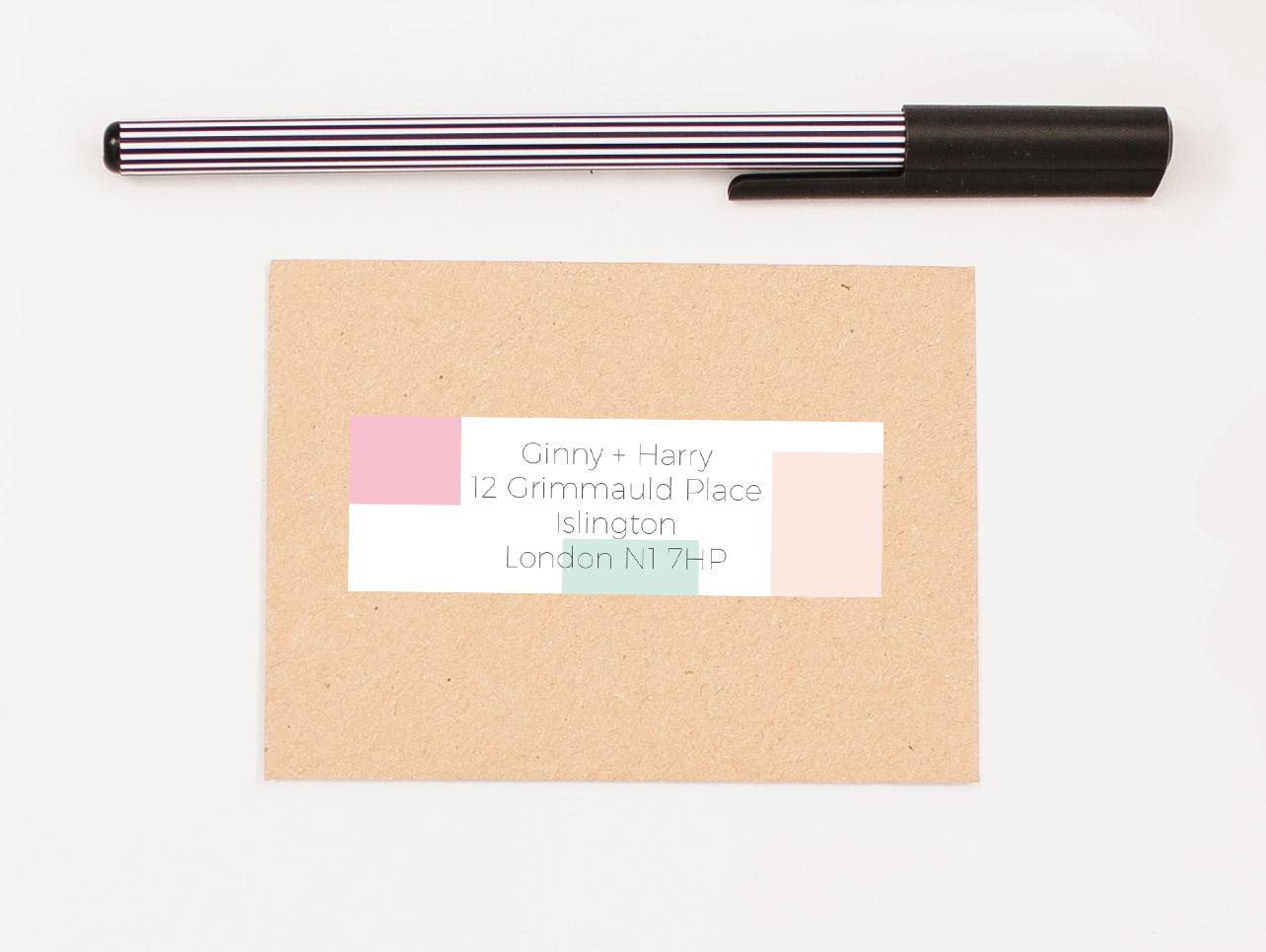 Mondrian Candy Cane Self Adhesive RSVP Return Address Label