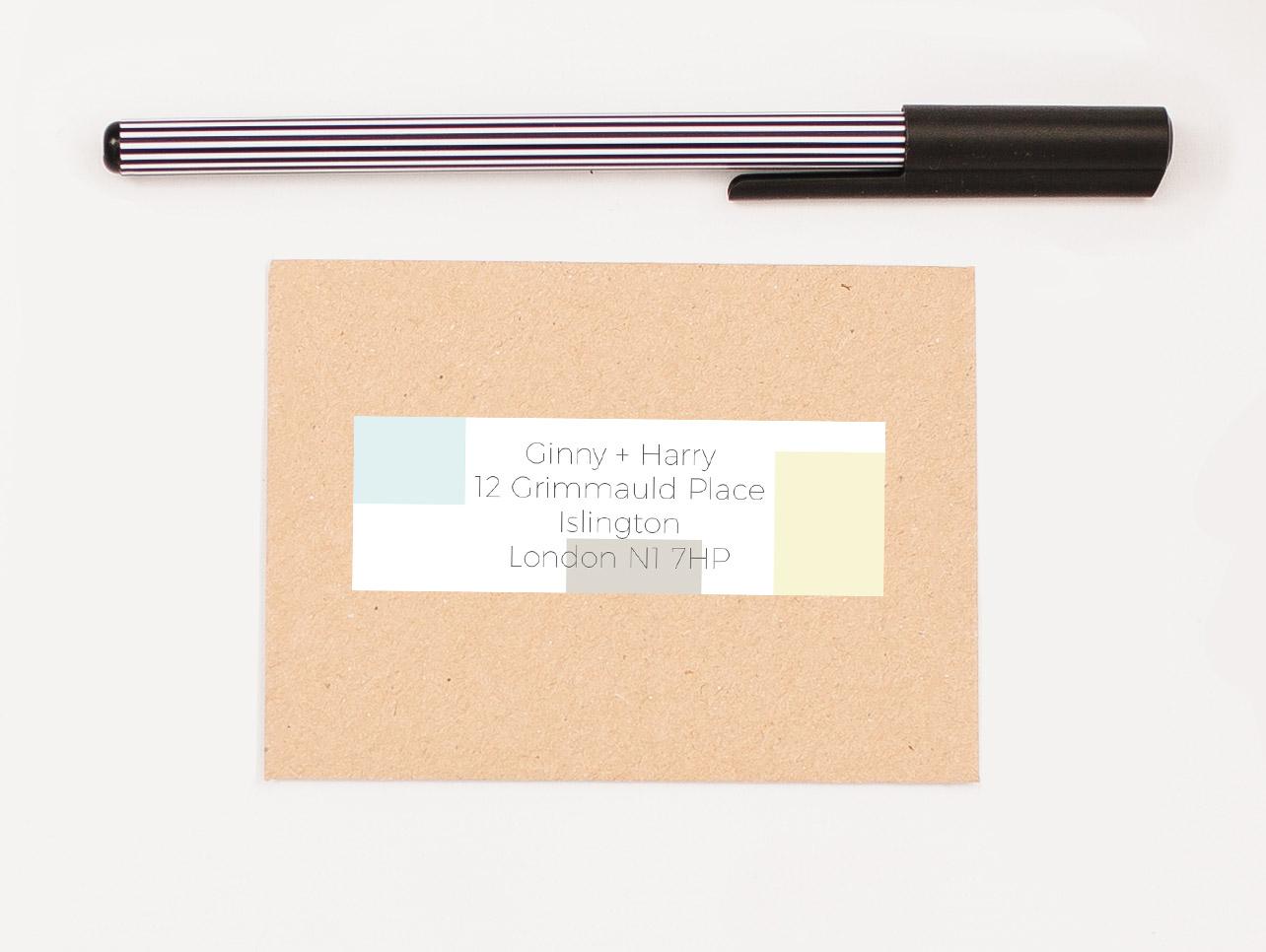 Mondrian Sorbet Self Adhesive RSVP Return Address Label