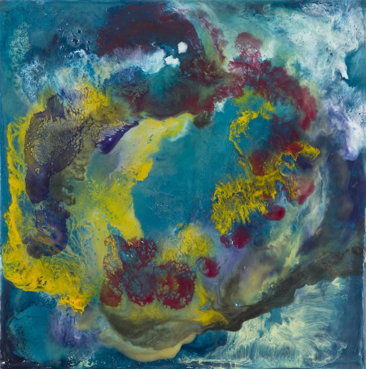 Constantly Flowing , 2015   encaustic on plywood  35 x 35 cm. (framed)  £1,700  [Ref. AA1]