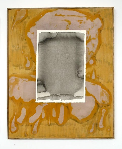 Screening, 2015  fabric dye, batik wax on calico, paper, ink, oak frame  52 x 42 cm.    [Ref. AP1]
