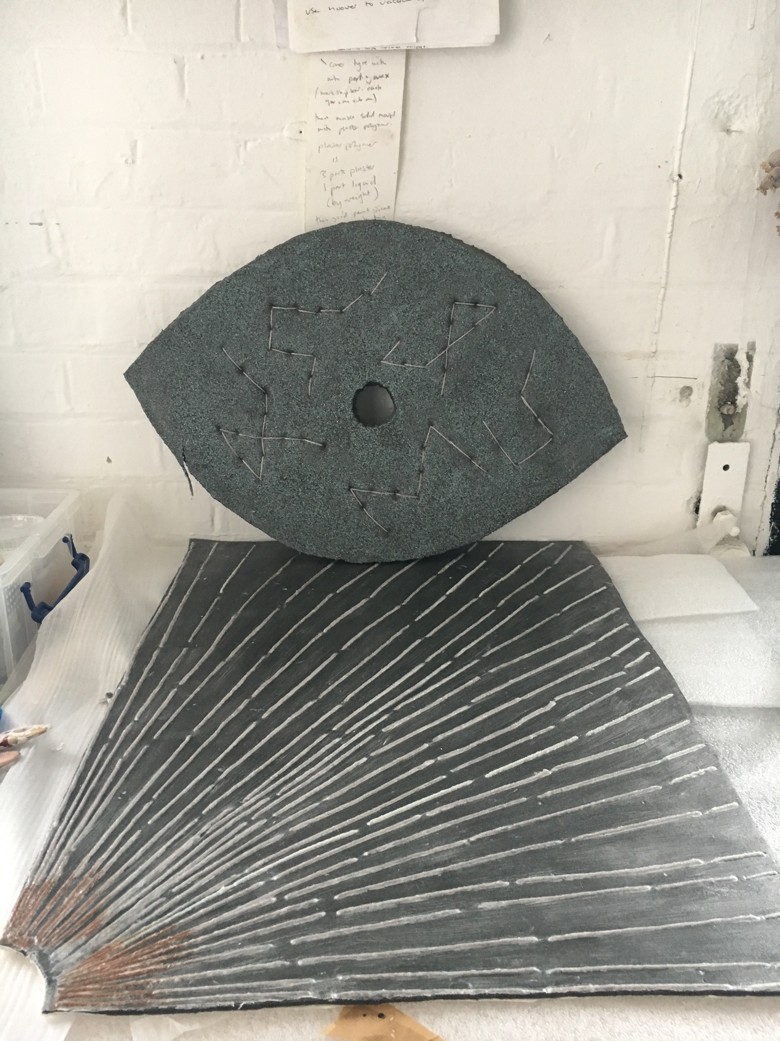 Studio view showing mould for Moondial and Sundial (2017)