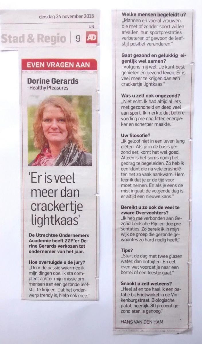 Wat super leuk dat het  Algemeen Dagblad / Utrechts nieuwsblad  me belde voor dit interview!