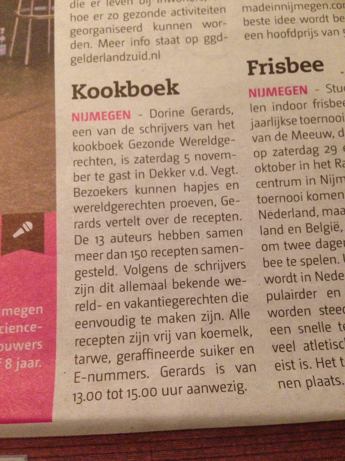 DE BRUG Nijmegen aankondiging proeverij van het boek GEZONDE WERELDGERECHTEN,bij  Dekker vd Vegt boekverkopers in Nijmegen