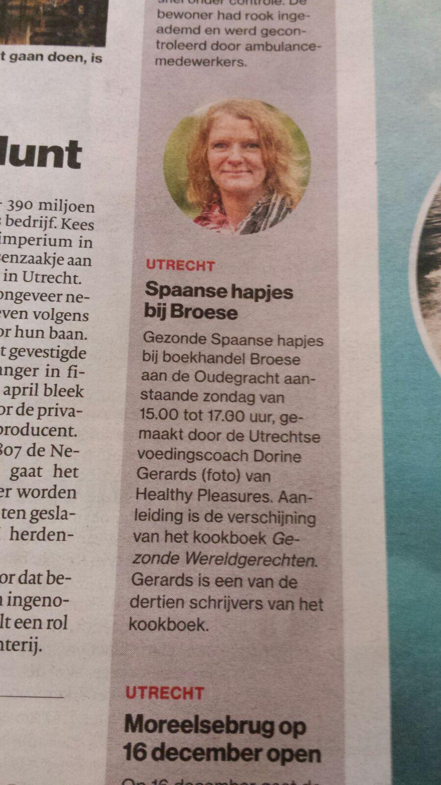 AD Utrechts Nieuwsblad 24-11.2016 aankondiging proeverij uit Kookboek Gezonde Wereldgerechten bij  Broese