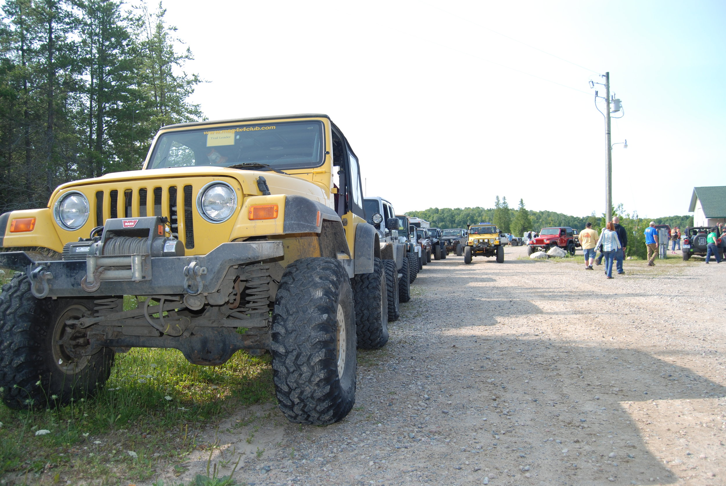 OUR CLUB HOSTS DRUMMOND ISLAND OFFROAD ADVENTURE - A GREAT LAKES FOUR WHEEL DRIVE SANCITIONED EVENT - ANNUALLY IN AUGUST.    TRAILHEAD CAMPGROUND - LINING UP FOR DRUMMOND ISLAND OFFROAD ADVENTURE IN AUGUST OF 2014.