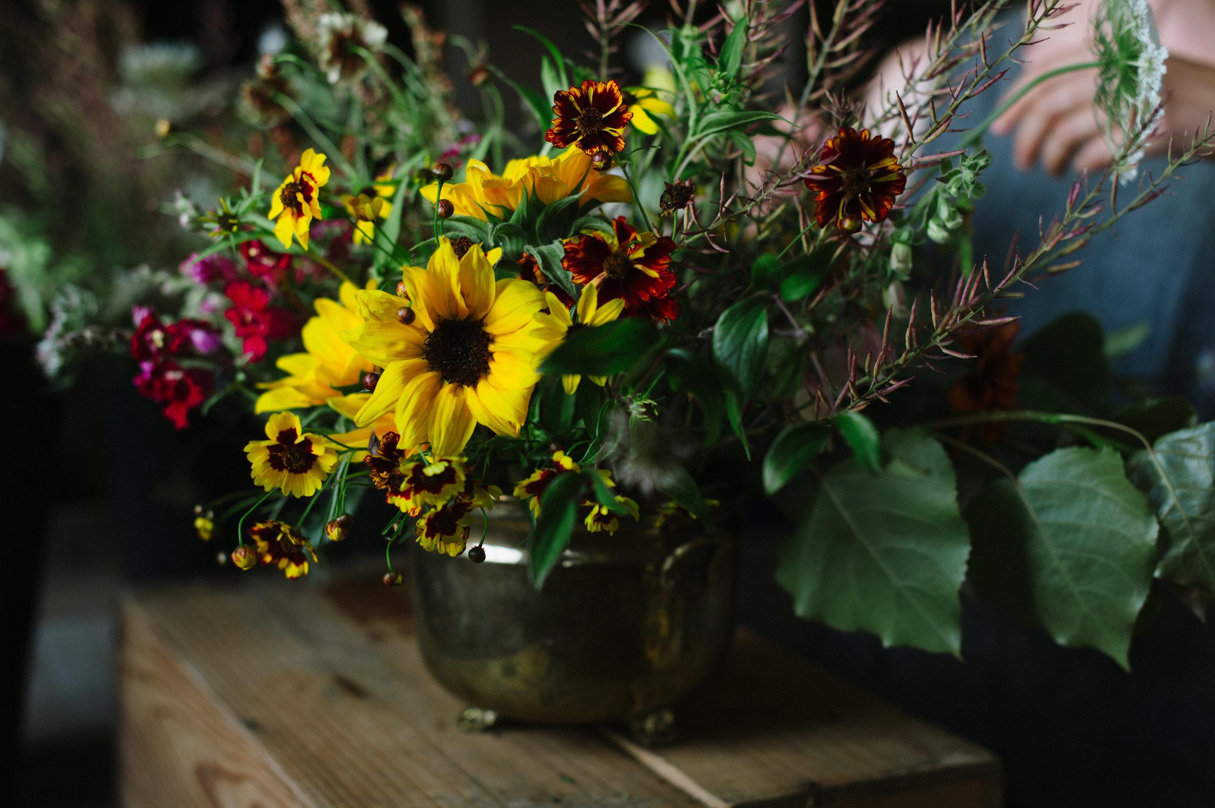 seasonal flowers, flower farm, urn arrangement