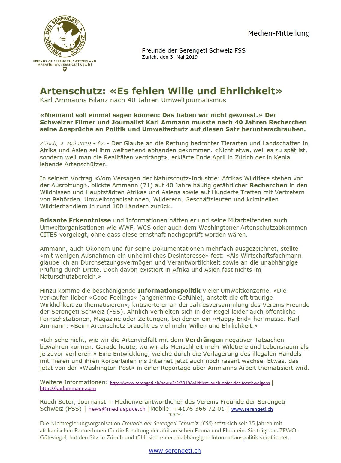 Verdrängte Artenschutzprobleme |Medienmitteilung FSS 2.5.19.jpg