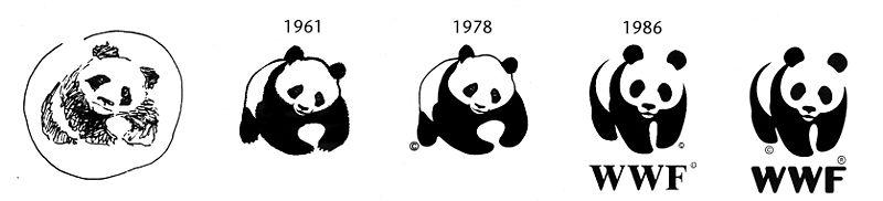 WWF-Logo:  Entwicklungen eines Pandas |  © Grafik WWF, Wikipedia